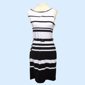 Liz Claiborne Sleeveless Striped Dress w/Belt 10